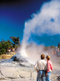 The spectaular Pohutu Geyser, part of the geothermal wonderland that is the famous Te Puia